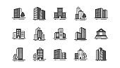 Buildings icons. Bank, hotel, courthouse. City architecture, skyscraper building. Vector