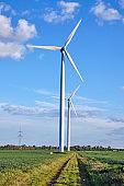 Wind turbines and green fields