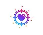 Heart in Target aim icon. Love symbol. Vector