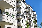 Modern white tenement house