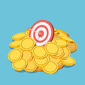 Isometric business target with arrow in the center in gold coin pile