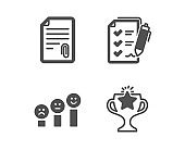 Attachment, Customer satisfaction and Survey checklist icons. Victory sign. Vector