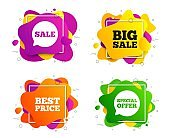 Sale icons. Special offer speech bubbles symbols. Vector