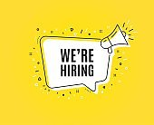 We're hiring symbol. Recruitment agency sign. Vector