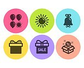 Balloon dart, Bell and Sale offer icons set. Gift box, Sun and Sale signs. Attraction park, Alarm signal. Vector