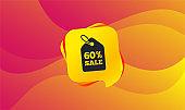 60 percent sale price tag sign icon. Vector