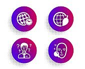 Time zone, Environment day and Support consultant icons set. Face search sign. Vector