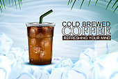 Iced coffee takeaway cup with ice background