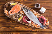 Salmon , sea bass , oysters and octopus