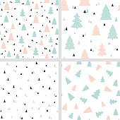 Scandinavian Christmas seamless patterns. Vector set of backgrounds with Christmas trees