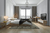 3d rendering beautiful minimal bedroom suite in hotel with tv