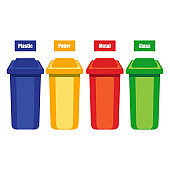 colored trash cans blue red green yellow with metal, paper, plastic, glass and organic waste suitable for reuse reduce recycle. waste sorting garbage