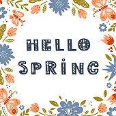 Vector Hello Spring background
