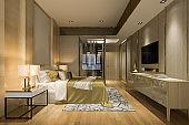 3d rendering luxury modern bedroom suite in hotel with wardrobe and walk in closet