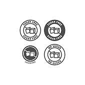 Sugar free symbol vector sticker. No sugar ingredient black stamp label for packaging.