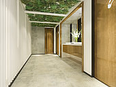 3d rendering wood and modern tile public toilet with green wall decor