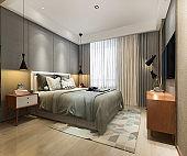 3d rendering beautiful loft minimal vintage bedroom