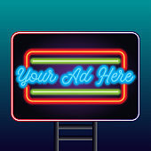 neon sign billboard for outdoor advertising glowing box. vector illustration