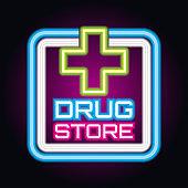medical drug store, pharmacy neon sign plank for medicine business, vector illustration