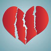 Broken heart / heartbreak flat icon for broken heart concept, vector illustration