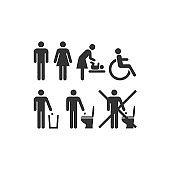Wc or restroom universal sign set.