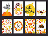 Autumn and Thanksgiving day set of greeting cards