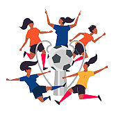 Championship cup. Woman soccer players. Football vector illustration.