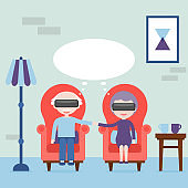 The elderly feel young in virtual reality. Grandmother and grandfather with virtual reality headset at home in the armchair. Virtual reality concept. Vector illustration.