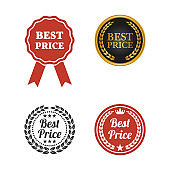 Best price labels on white background.