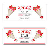 Spring Sale Banner with Bouquet of Tulips. Bouquet of Red Tulips in Paper with Red Bow. Discount, Voucher, Flyer, Invitation, Poster, Brochure, Vector illustration for Your Design, Web.