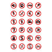 Prohibition signs set safety on white background.