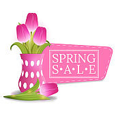 Spring Sale Banner with Bouquet of Pink Tulips. Discount, Voucher, Flyer, Invitation, Poster, Brochure. Vector illustration for Your Design, Web.