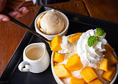 Woman use spoon take shaved ice dessert, served with mango sliced.  Served with vanilla ice cream and whipped cream.