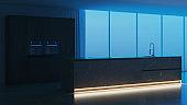 Modern kitchen interior. Dark wood kitchen with island made of natural stone. Night. Evening lighting. 3D rendering.