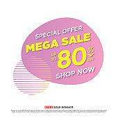 ale banner template design, mega sale special offer. end of season special offer banner. vector illustration