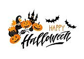 Happy Halloween. Hand drawn lettering and illustration.