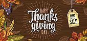 Poster with Happy Thanksgiving day calligraphy lettering. Vector engraving
