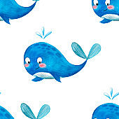 Watercolor cartoon whale.  Seamless whales cartoon background illustration of summer beach background.