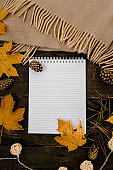 White blank notebook and pen on a dark background with a scarf, plaid and a cup, autumn yellow leaves and pine cones around. View from above. flat lay, in blur. Copy space