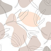 Seamless pattern with abstract geometric shapes, leaf nature aesthetic texture, pastel warm tones. Modern trendy graphic design template for poster, card, banner, cover, textile, fabric, wrapping.