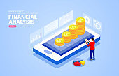 Isometric Smartphone Financial Services and Analysis