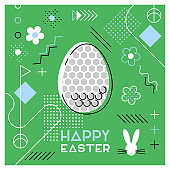 Easter sports greeting card. Abstract Memphis design. Golf.