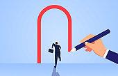 Help the businessman draw an open door
