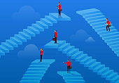 Businessmen standing on the intricate stairs of different heights
