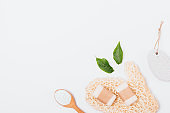 Flat lay natural cosmetics and accessories
