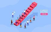 Career development concept, business development, waiting for opportunities, crowd walking on rising arrow
