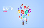Isometric business business discussion