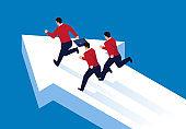 Three businessmen running isometric on arrows
