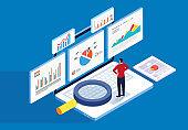 Isometric web page stock market financial data analysis