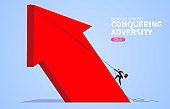 Conquering adversity climbing huge red arrow